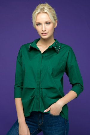 Zefir. Рубашка с декором из жемчуга. Артикул: TERY зеленая