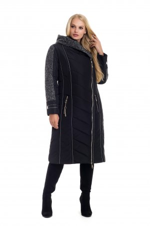 Vicco. Зимнее двубортное пальто-пуховик на синтепоне BABOCHKA 19 (цвет черный). Артикул: 105