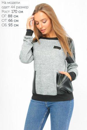 LiPar. Стильный свитшот с карманами из экокожи Серый. Артикул: 864 серый