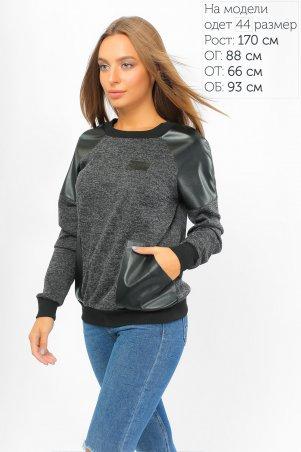 LiPar. Стильный свитшот с карманами из экокожи Чёрный. Артикул: 864 черный