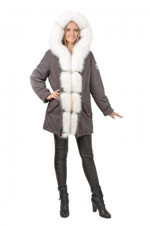 Caramella. Куртка парка с искусственным мехом. Артикул: CR-60112-GRY