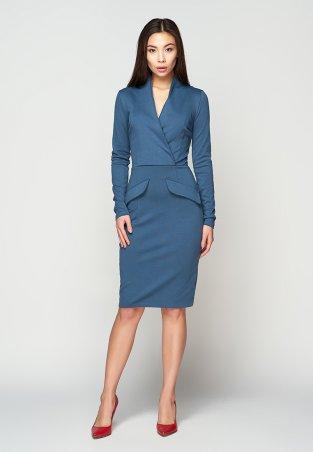 A-Dress. Элегантное платье по фигуре синего цвета. Артикул: 707311