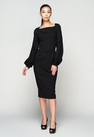 A-Dress. Приталенное изысканное черное платье из джерси. Артикул: 706011
