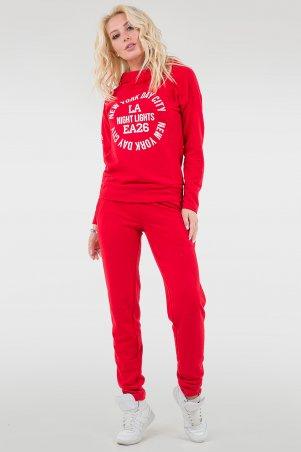 V&V. Спорт костюм женский 055 красный трехнитка. Артикул: 055