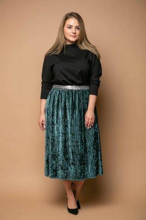 Tatiana. Нарядная юбка из велюра. Артикул: MIKAEL зеленая