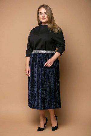 Tatiana. Нарядная юбка из велюра. Артикул: MIKAEL темно-синяя