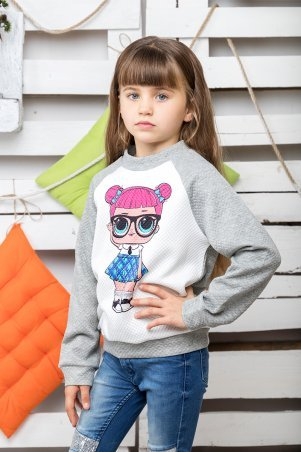 Miakids: Свитшот Кукла Лол серый 042-045 - главное фото