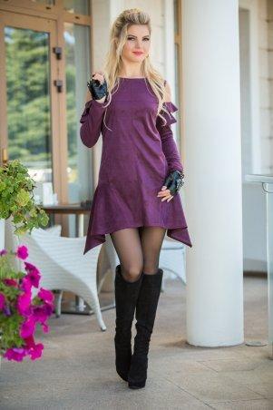 Bisou. Платье с открытыми плечами сливовый. Артикул: 7791