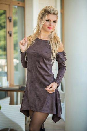 Bisou. Платье с открытыми плечами шоколадный. Артикул: 7791