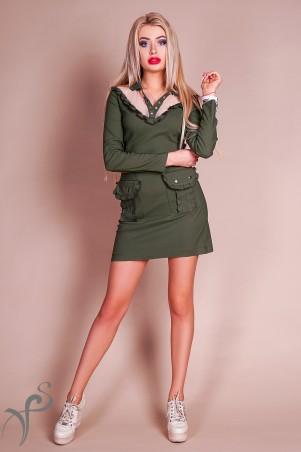 "Vision FS. Платье в стиле хаки ""Fashion Up"". Артикул: 17527 X"