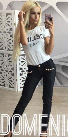 Domenica. Стильные джинсы декорированы жемчужинами. Артикул: Р 1406