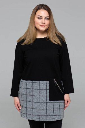 Tatiana. Комбинированная туника с карманом. Артикул: ЖАННА черная