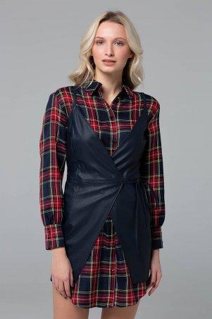 Zefir. Двойка (рубашка+кожаный сарафан). Артикул: POLA темно-синий