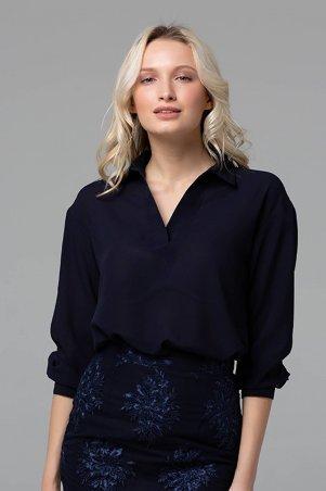 Zefir. Блуза с отложным воротником. Артикул: PERI темно-синяя