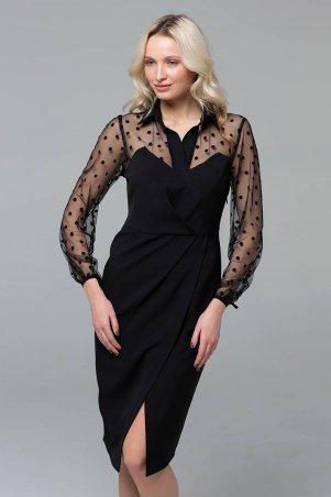 Zefir. Платье с верхом из сетки. Артикул: TORN черное
