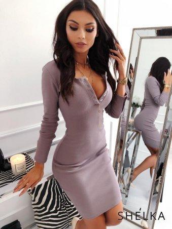 SHELKA. Платье рубчик Фиолетовая пудра. Артикул: SH14-2
