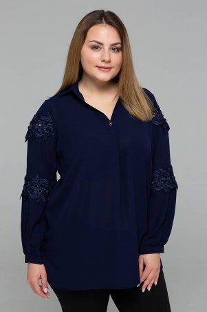 Tatiana. Нарядная блуза с кружевом. Артикул: АНДРЕА темно-синяя