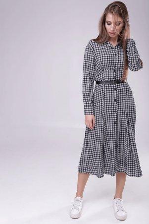 Lavana Fashion. Длинное платье в клетку с поясом. Артикул: LVN1804-0999