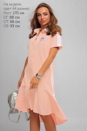 LiPar: Яркое Асимметричное Платье Пудра Батал 3267 пудра - главное фото