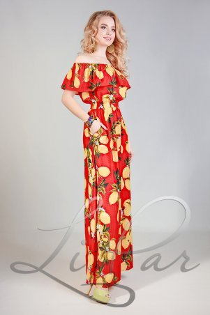 LiPar. Летнее Платье из штапеля Красное Батал. Артикул: 678 красный