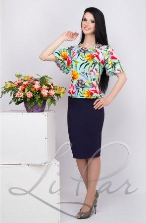 LiPar. Женский костюм  с цветочным принтом Бирюза. Артикул: 419 бирюза цветы