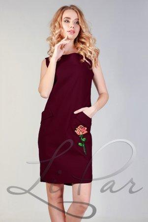 LiPar. Льняное платье с удобными карманами Бордо. Артикул: 3056 бордовый