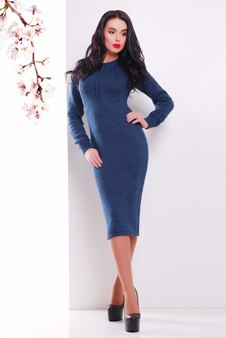 Вязаное Платье 137 джинс от MarSe, цвет джинс