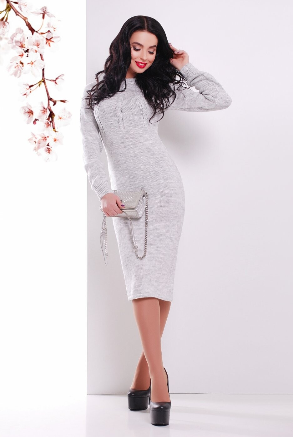 Вязаное Платье 137 светло-серый от MarSe, цвет светло-серый