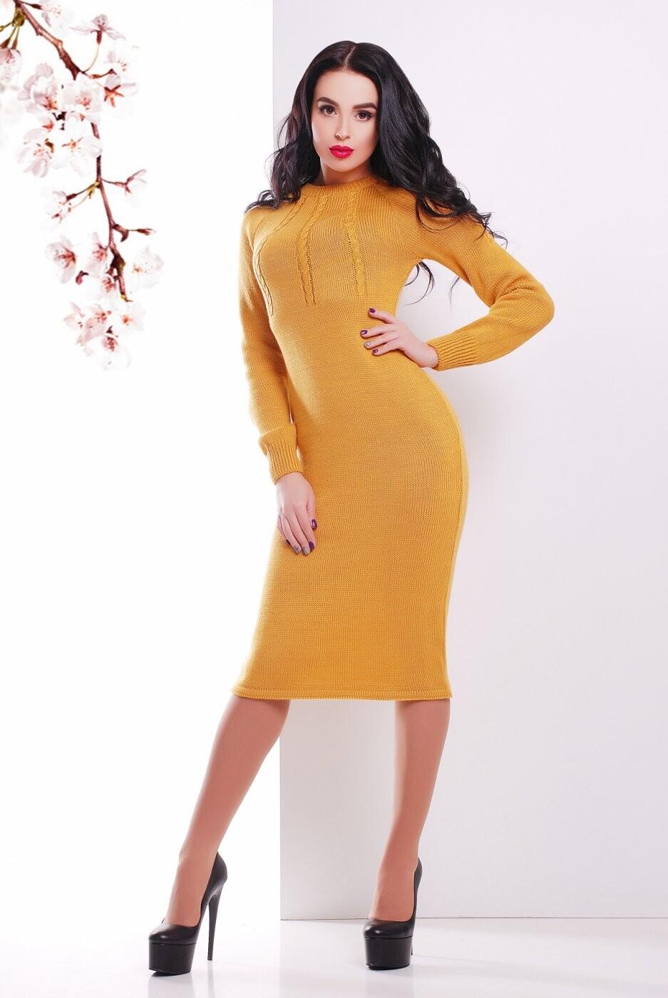 Вязаное Платье 137 горчица от MarSe, цвет горчица