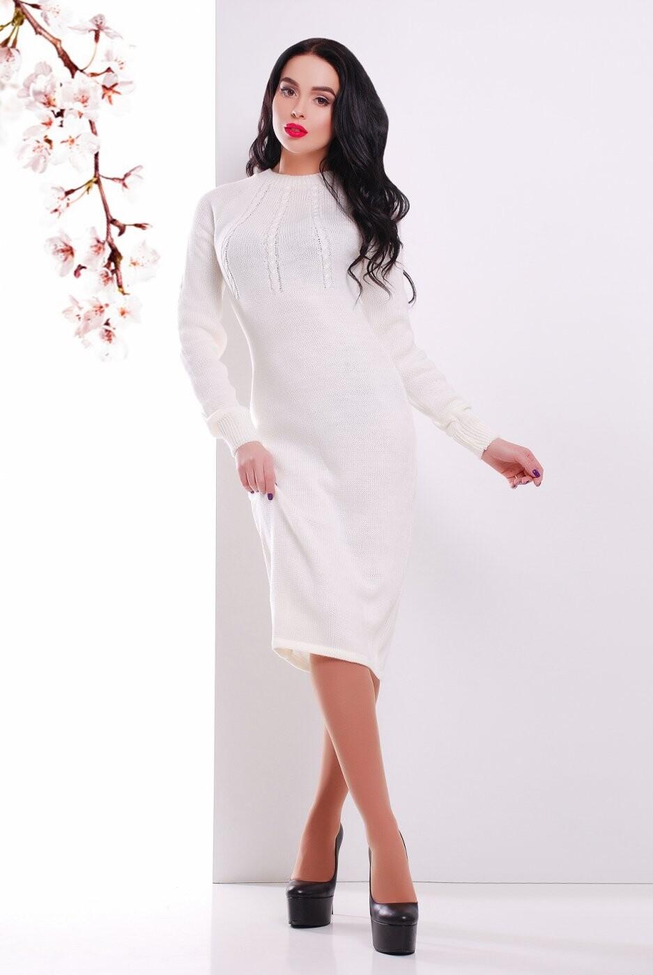 Вязаное Платье 137 молоко от MarSe, цвет молоко