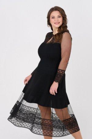 RicaMare. Черное коктейльное платье, большие размеры. Артикул: RM1906-2-B-19VC