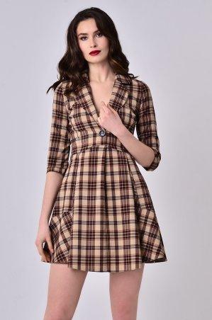 LiPar. Платье с глубоким декольте в клетку Коричневое. Артикул: 3355 коричневый