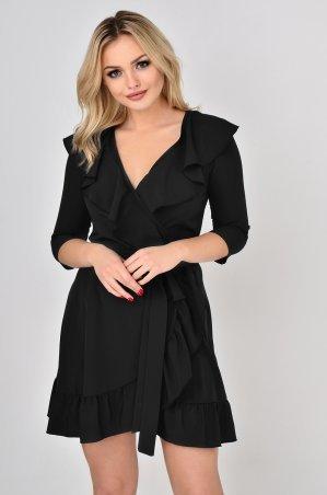 """LiPar. Платье на """"запах"""" с воланами Чёрное. Артикул: 3351 черный"""