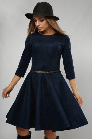 LiPar. Платье замша юбка-солнце Синее. Артикул: 3072 синий