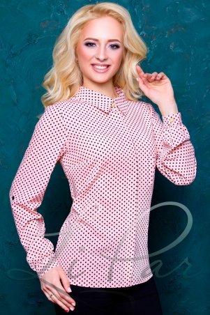 LiPar. Женская блуза в горошек с бантиками Розовая Батал. Артикул: 2055 розовый