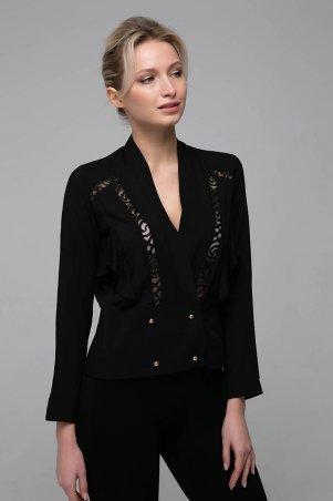 Zefir. Короткая блуза со вставками из кружева. Артикул: TERI черная