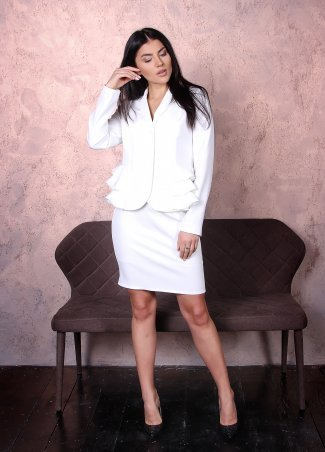 Eva Style. Нарядный костюм двойка, жакет с рюшками и юбка с завышенной талией. Артикул: 1311