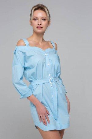 Zefir. Платье-сарафан с открытыми плечами. Артикул: BLANSH голубое