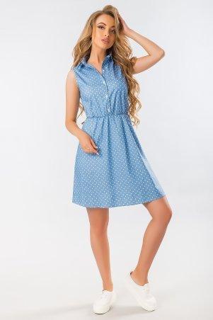 Garda. Голубое Платье-Рубашка С Принтом Сердечки. Артикул: 300389