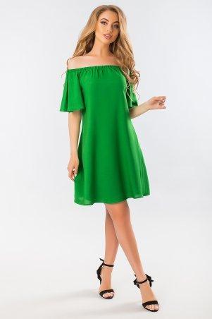 Garda. Зеленое Платье С Открытыми Плечами. Артикул: 300400