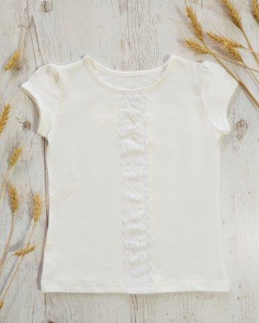 КЕНА. Блузка для девочки с кружевом. Артикул: 304626-01