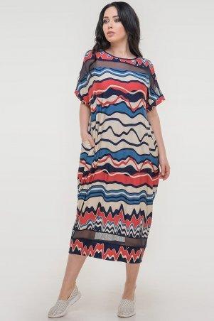 V&V. Платье 2711-1.5 синее с красным. Артикул: 2711-1.5