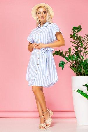 Garda. Платье-Рубашка В Крупную Голубую Полоску С Поясом. Артикул: 300828