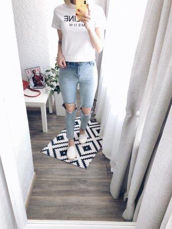 Immagine. Голубые джинсы SLIM с разрезами на коленях. Артикул: 1031-1122