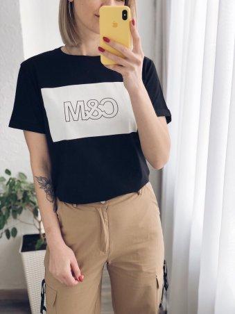 Immagine.  Черная женская футболка с принтом. Артикул: 3094(Чёрный)