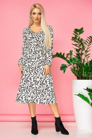 Garda. Платье С Воланом И Запахом Белый Леопард. Артикул: 300815