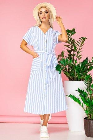 Garda. Голубое Платье В Полоску С V-Образным Вырезом. Артикул: 300832