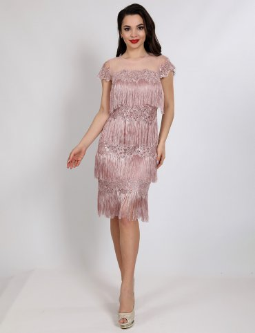 Enigma. Платье коктейльное из бахромы с пайеткой. Артикул: P1059