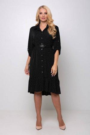 Tatiana. Платье в горошек с застежкой спереди. Артикул: ПЕРИС черное
