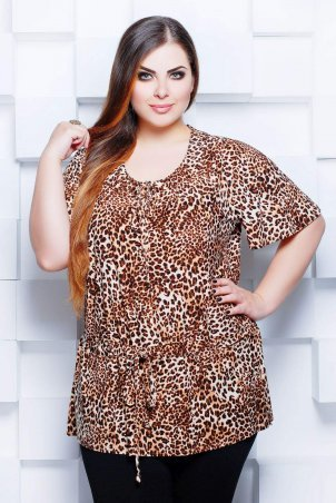 Tatiana. Блуза с анималистическим принтом. Артикул: ПОЯС оранжевая
